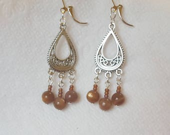 Sunstone Silver Leverback Chandelier Earrings, Sunstone Jewelry, Gifts for Her