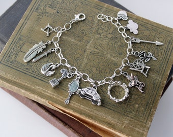 Once Upon a Time Charm Bracelet Silver Charm OUAT Disney Inspired Jewelry Disney bound Hook Emma Swan Regina Robin Belle Rumbelle Snow White