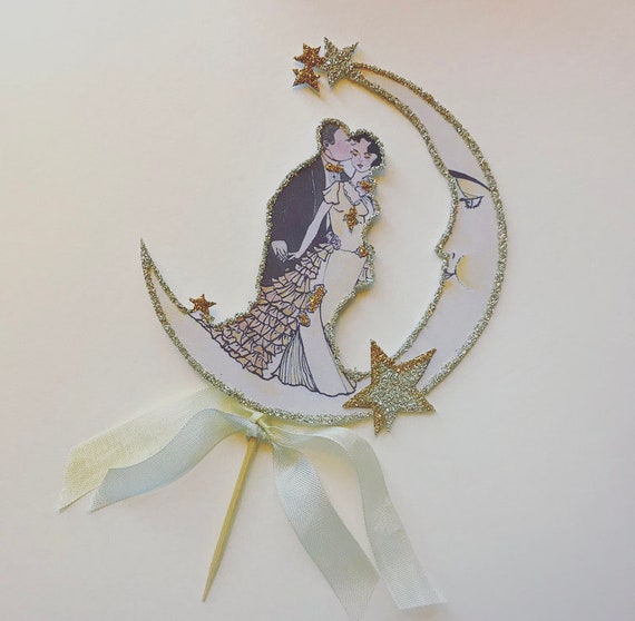 Wedding Cake Topper,Personalized, Custom Hair Tone,Great Gatsby, Art Deco -Roaring 20s,Crescent Moon- Silver and Gold Glitter