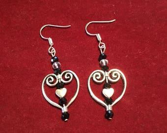 Heart earrings with silver heart charm