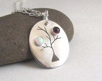 Mothers Necklace, Family Tree Jewelry , personalized, Custom Family Tree Mothers Necklace with Birthstones