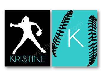Softball Art Prints, Softball Canvases, Custom Softball Art, Softball Name Art, Softball Canvas Art, Softball Team Gift, Softball Coach Gift