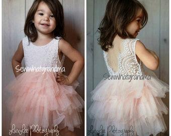 White Blush Flower Girl, Tulle Dress, Pink Tutu, Cowgirl, Ballet Tutu, Cake Smash, Photography Dress, First Birthday
