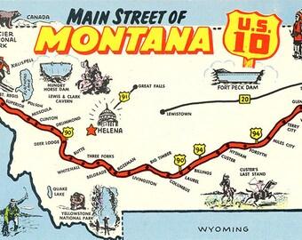 Montana State Map Main Street U.S. 10 Vintage Postcard (unused)