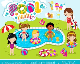 Girls pool party clipart , pool clipart, pool party digital clipart    / instant download - EPS and PNG