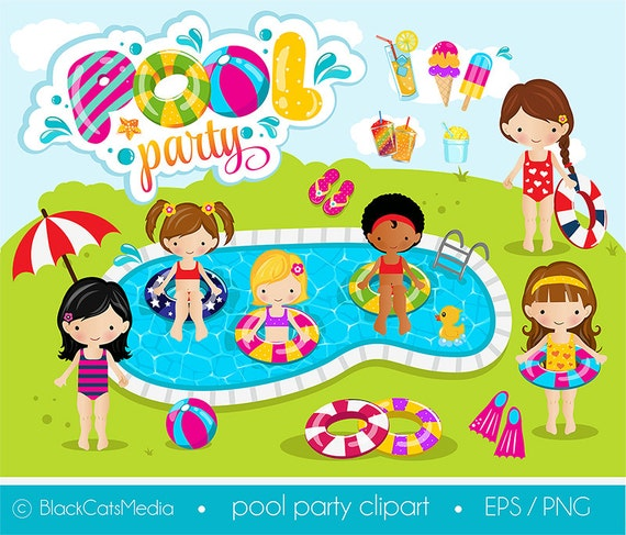 girls pool party clipart pool clipart pool party digital rh etsy com pool clipart png clipart pool table