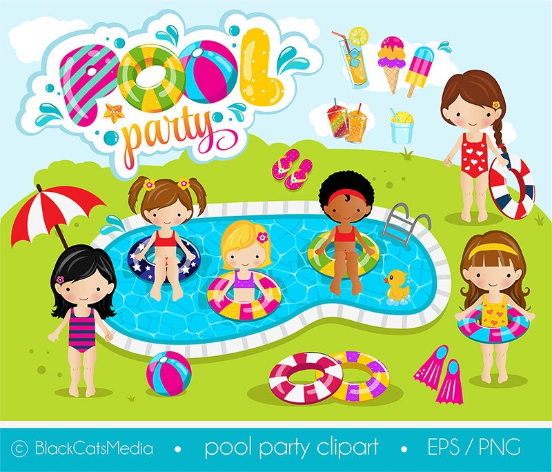 girls pool party clipart pool clipart pool party digital rh etsy com pool party clipart pool party clipart free