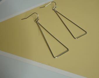 Silver triangle drop hoops