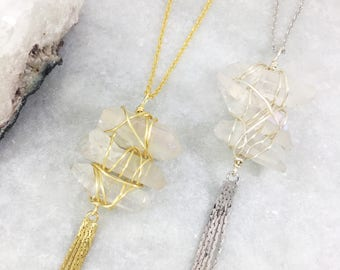 Quartz Wire Wrapped Tassel Necklace   Gold Rose Gold or Silver Plated   Statement Piece