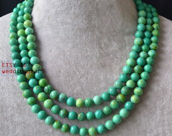 Green turquoise etsy turquoise necklacetriple strands green turquoise necklacewedding necklacestone necklacesstatement aloadofball Image collections