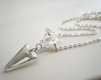 As Seen on The Vampire Diaries TVD Silver Season 7 Swarovski Crystal Spike Necklace Herkimer Diamond Worn by Caroline Forbes Minimalist Gift