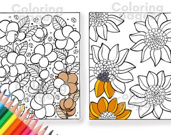 Coloring pages,flower coloring pages,coloring pages pdf,coloring pages for adults,coloring pages for kids,instant download,flowers