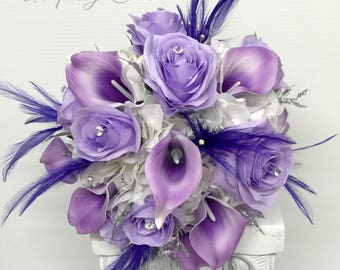 Wedding bouquet, Bridal bouquet, Purple lavender Rose bouquet, Roses calla lilies with feathers and silver Bling bouquet