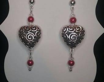 Handmade Dazzle & Dangle Heart Valentine Earrings - Style: HEART SWIRLS
