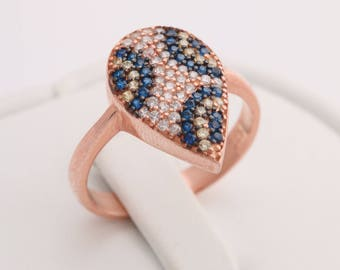 Special Design Turkish Evil Eye Handmade Pear Shape 925 Sterling Silver Round Cut Sapphire White Topaz Citrine Rose Gold Ring Size