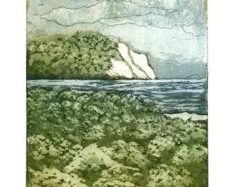 paysage de tirage, impression d'art beach, art océan, falaises blanches impression bord de mer, art de ciel orageux, impression de la nature, art vert forêt, art de la forêt