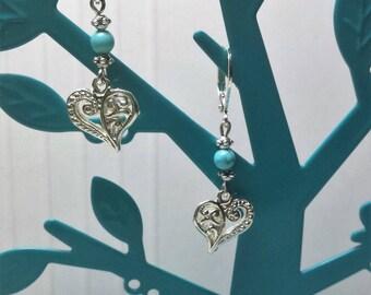 Heart filigree turquoise bead earrings