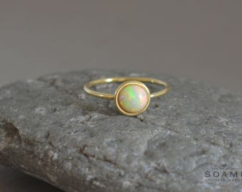 14k solid gold opal ring, statement gold opal ring, opal gem gold ring