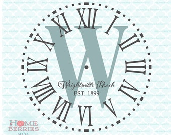 Wrightsville Beach North Carolina Clock Face svg dxf eps jpg ai files for Cricut Silhouette & other cutting machines