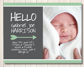 Hello mint love arrow printable birth announcement - with photo