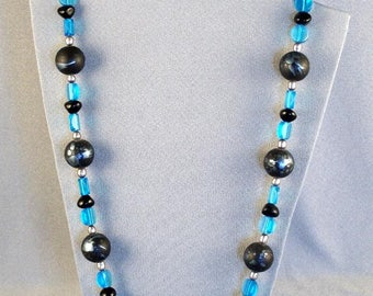 Blue & Black Beaded Necklace/Earring Set // Stunning // Exceptional // Attractive // Polished