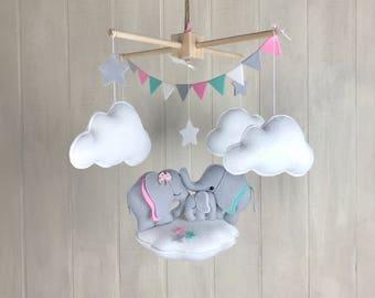 Baby mobile - Elephant mobile - nursery hanging decor - baby crib mobile - elephant family - star mobile - cloud mobile - custom colors