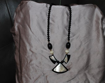 Vintage Beaded Black and Ivory Necklace