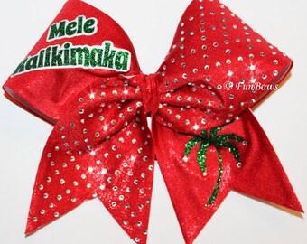 Mele Kalikimaka  Cheerleading Christmas Bow with rhinestones - by Funbows !
