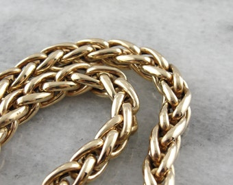 Substantial Polished Gold Wheat Chain Necklace KD76RU-N