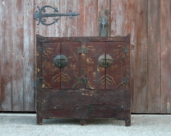 Antique Chinosierie Buffet Cabinet, Asian cabinet,Antique cabinet, Chinese cabinet, Painted Asian Buffet, Vintage Chinese Cabinet,