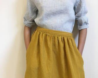 Light grey linen top with long sleeves, linen blouse for women, light linen blouse, linen women top, long sleeve top, light blouse