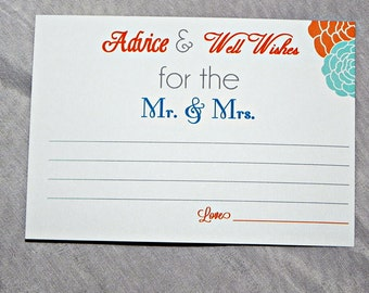 PRINTABLE Bridal Shower/Wedding Advice/Wish Card in turquoise and orange