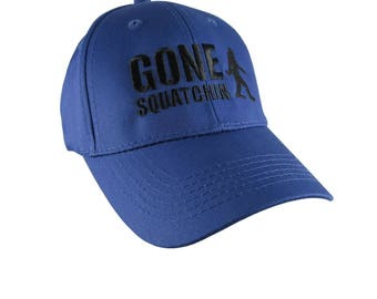 Gone Squatchin Black Sasquatch Bigfoot Humorous Embroidery Design on a Blue Adjustable Structured Baseball Cap for Kids Age 6 to 14