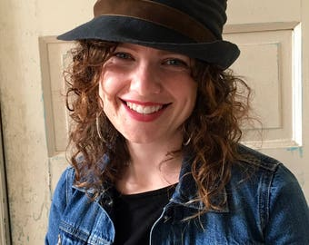 Gray Felt Hat, SOLD***, Distressed Hat, Dark Gray Hat, Hand Blocked Felt Hat, Burnt Hat, Crumpled Hat, Velvet Band