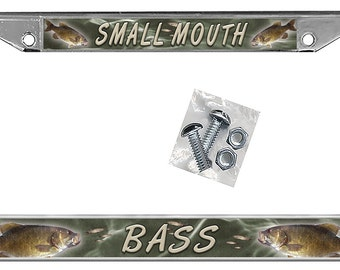 Small Mouth Bass License Plate Frame Personalize Gifts Girls Ladies Men Plate Holder Fishing Fisherman Fish Sportsman
