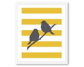 Birds on Branch Print - Perched Birds - Bird Wall Art - Bird and Stripes Print - Bird Decor - Modern Birds Print - 8x10 print on 8.5x11