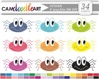 Spider Clipart, Halloween Clipart, Scrapbooking Clipart, Digital Clip Art, Cardmaking Clipart, Instant Download Clipart, png file