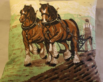 "15"" cushion cover Shire farm horses ploughing field"