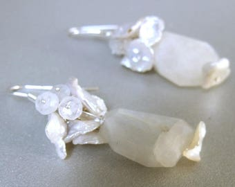 Large Moonstone nuggets and natural keshi pearls bridal Sterling silver earrings, handmade earrings with white moonstone and cultured pearls