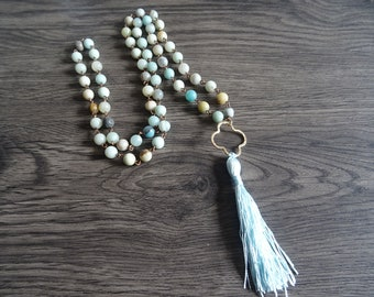108 mala necklace, Buddhist necklace, amazonite stone, pampilledore, silk tassel