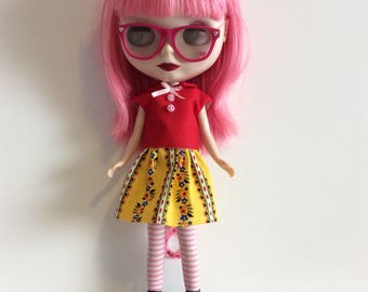 Yellow and floral Blythe skirt