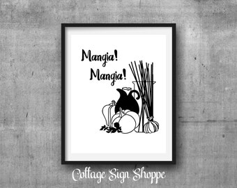 Mangia Mangia, Eat, Eat, Italian Wall Art, Restaurant Wall Art, DIGITAL, YOU PRINT, Kitchen Wall Art, Italian Kitchen Decor, Dining Room Art