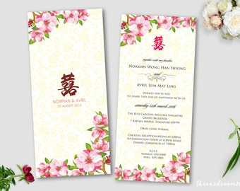 Printable Wedding Invitation Set | wedding Invitation + RSVP Card |Oriental Floral | Cherry Blossoms | Red | Double Happiness