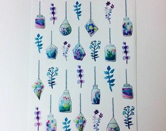 Hanging terrarium stickers