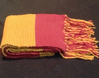 Cranberry and Gold Striped Scarf with Fringe