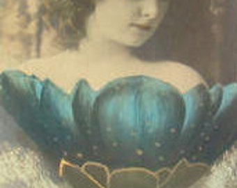 SALE Vintage Hand Tinted Fantasy RPPC (Woman Emerging From a Blue Flower)