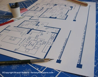 Absolutely Fabulous - Ab Fab TV Show Apartment Floor Plan Poster - BluePrint for Townhouse Home Eddy & Saffy Monsoon - Great gift!