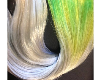 Nylon Doll Hair, Deluxe OOAK blend, Old Money Ombre Metallic, Shiny, Nylon ,Rerooting, hand dyed