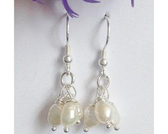 Sterling silver and freshwater pearl earrings, wedding earrings, pearl earrings