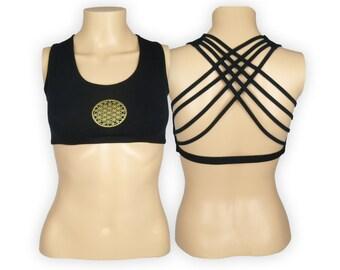 Flower of Life Black Yoga Bra Top - Yantra Criss Cross design workout bra - Athletic bra - sports bra - Hot Yoga Bra - Lycra Cotton Blend